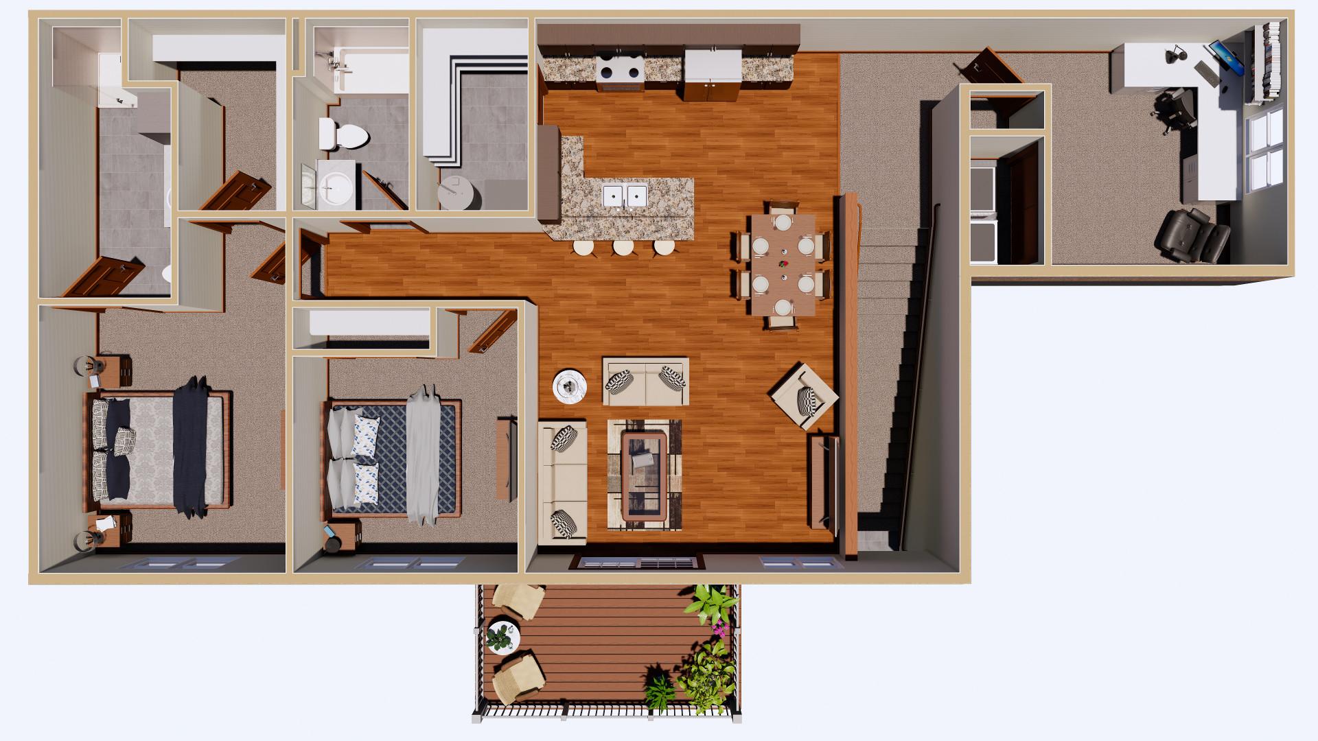 09-25-2020 Elk's Apartments 2nd Floor Rendering 2